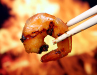 King tiger prawn shrimp food by fire and flame